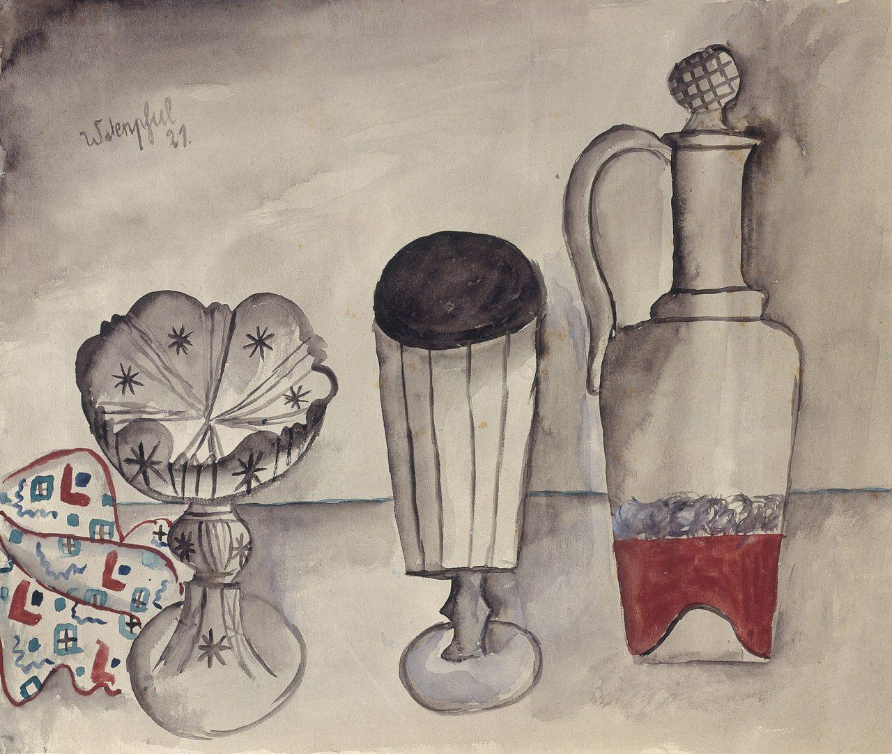 Stillleben mit Karaffe Glas und Schale