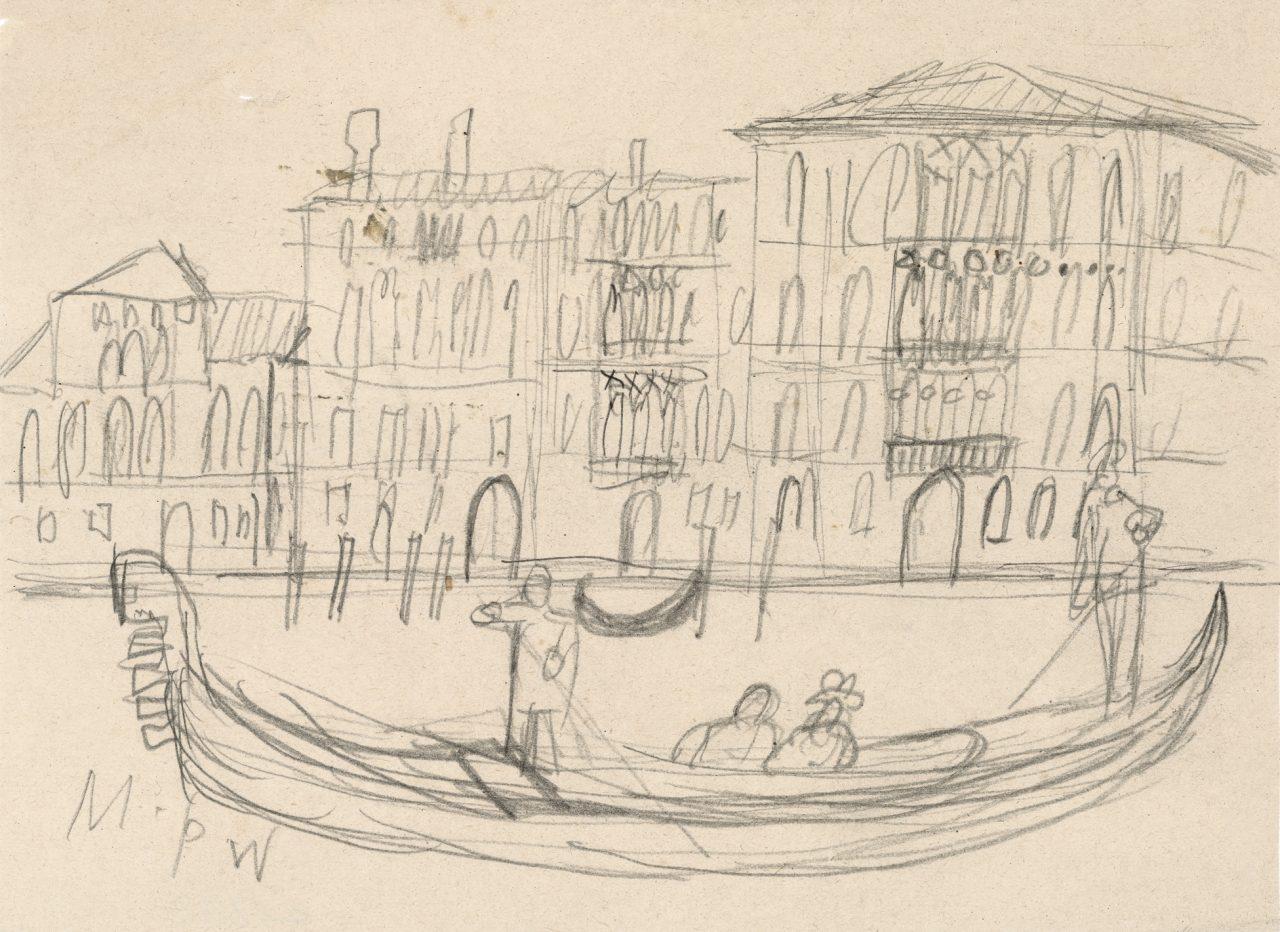 Venice, Gondola in front of Ca'Foscari,